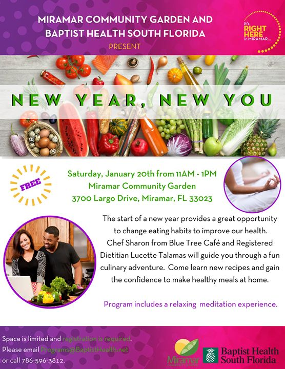 New Year, New Me! Free Cooking & Yoga at the Garden! | Miramar