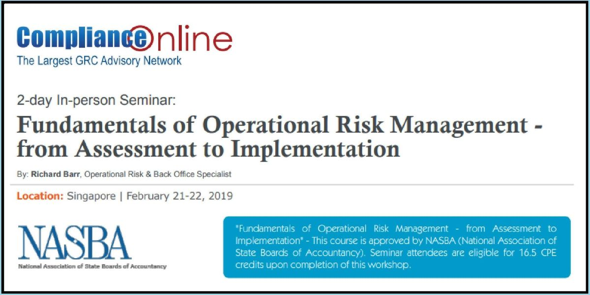 Fundamentals of Operational Risk Management - from Assessment to Implementation 2-Day Seminar