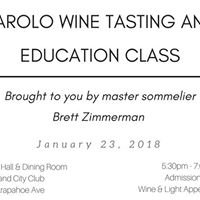 Barolo Wine Tasting and Education Class