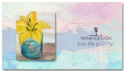 Sip Paint Yellow Lily In A Mason At Wine Design Wake Forest