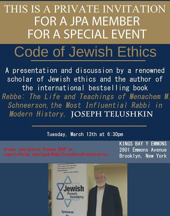 Presentation By World Renowned Author & Rabbi Joseph Telushkin