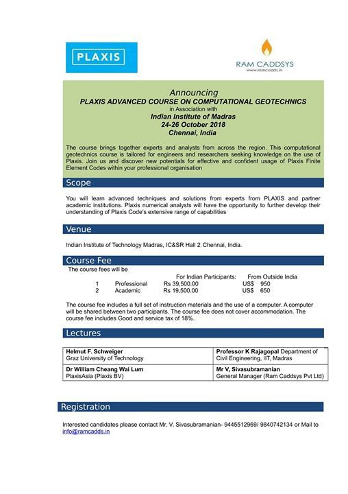 Plaxis Advanced Course on Computational Geotechnics