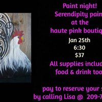 Rooster Design Paint Night at Haute Pink Boutique