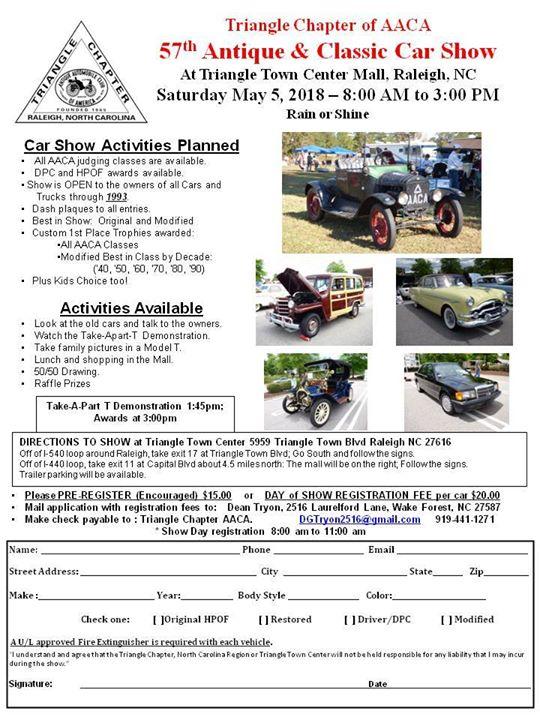 Th Annual Antique Classic Car Show At Triangle Town Center Raleigh - Raleigh car show