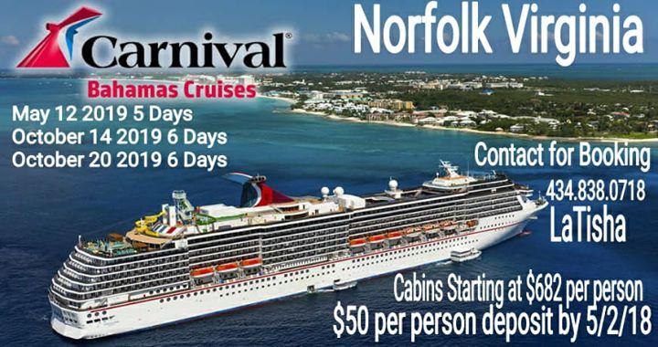 2019 Norfolk Va Bahamas Cruise At Carnival Cruise Lines