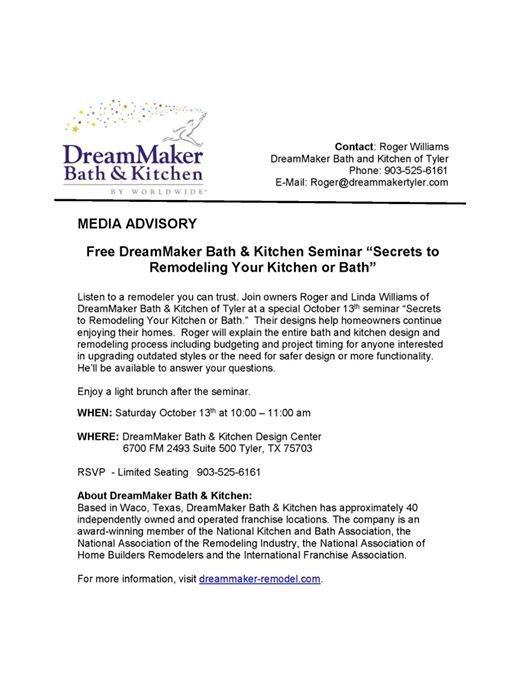 Secrets To Remodeling Your Kitchen Or Bath   Free Seminar!
