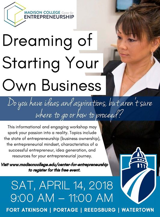 85a27afad71 Free Workshop  Starting Your Own Business at Madison College - Fort ...