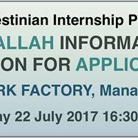 Palestinian Internship Program - Ramallah Information Session