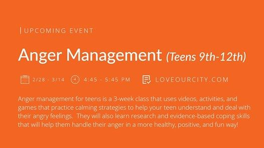 Anger Management (Teens 9th-12th) at clockThursday, February