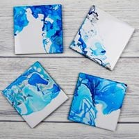 DIY Marbleized Coaster - Alcohol Ink