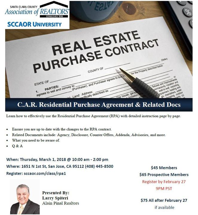 Car residential purchase agreement related docs san jose santa clara county association of realtors 1651 n 1st st san jose united states learn how to effectively use the residential purchase agreement platinumwayz
