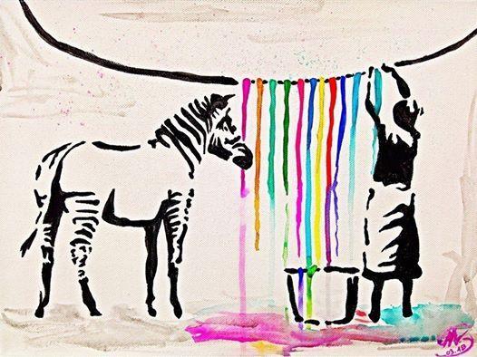 ArtNight Banksy Washing Zebra am 04062019 in Dsseldorf