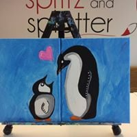 Mom &amp Me Penguins Saturday morning - 2 can paint for 30