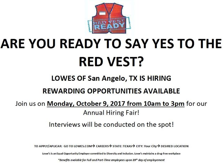 Lowes Annual Hiring Event At 5301 Sherwood Way San Angelo Tx 76904
