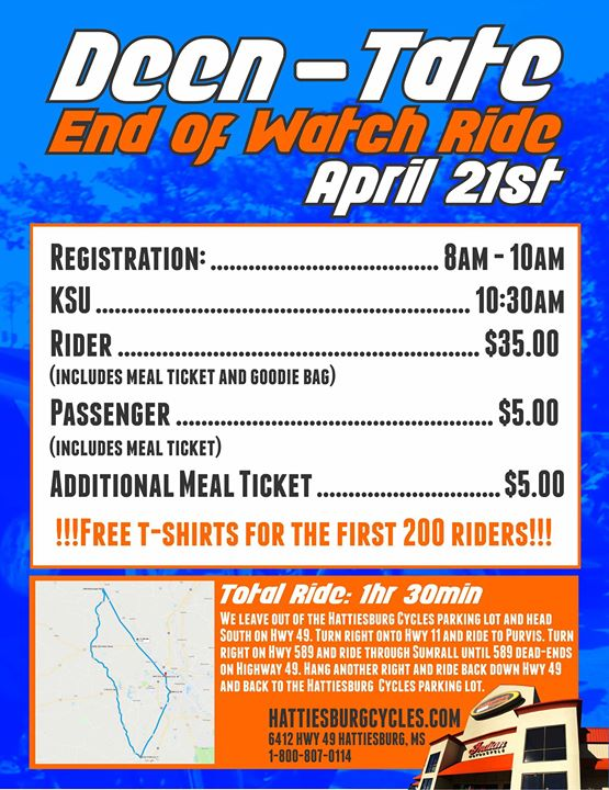 End of Watch Ride at Hattiesburg Cycles, Hattiesburg