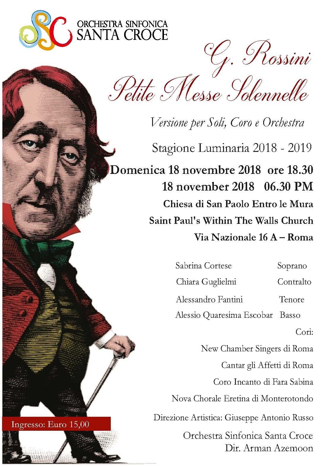 Petite Messe Solennelle versione per Soli Coro e Orchestra