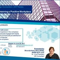 Webinar - Creating and maintaining a positive workplace