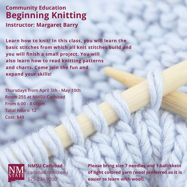 Community Education Beginning Knitting At Nmsu Carlsbad Carlsbad