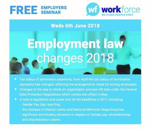 Free Seminar - Employment Law Changes 2018