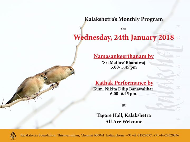 Kalakshetras Monthly Program for Budding Musicians and Dancers