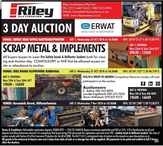 ERWAT 3 DAY SCRAP METAL & IMPLEMENT AUCTION Day 1-24th OCT
