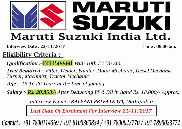 job placement for maruti suzuki contact 91 8100365834