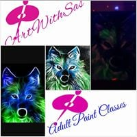 PAINT A WOLF IN A GALAXY- Intermediate Adult Acrylic Class