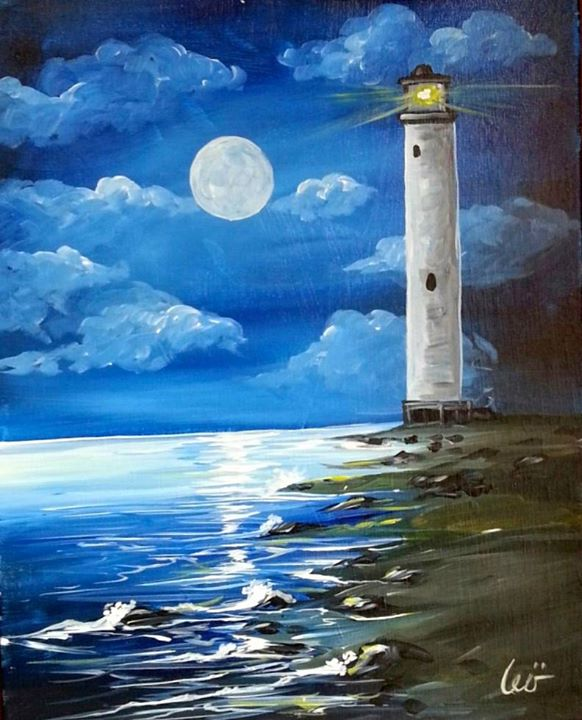 Moonlit lighthouse colored at painting with a twist for Painting with a twist arizona