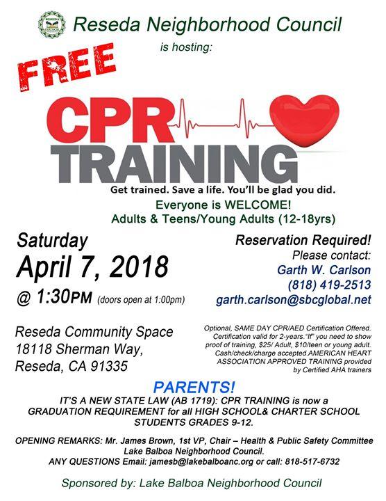Free Cpr Training At Reseda Neighborhood Council Reseda