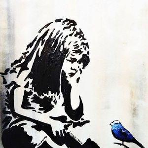 ArtNight Banksy Mdchen mit Vogel am 30042019 in Dortmund