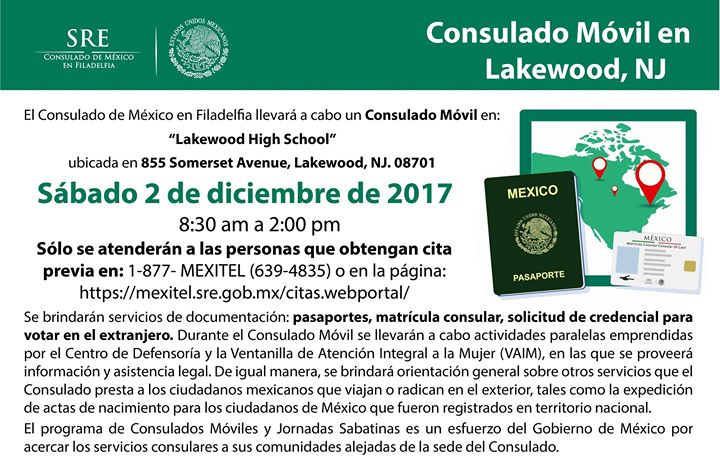 Consulado Móvil en Lakewood, NJ at 855 Somerset Ave