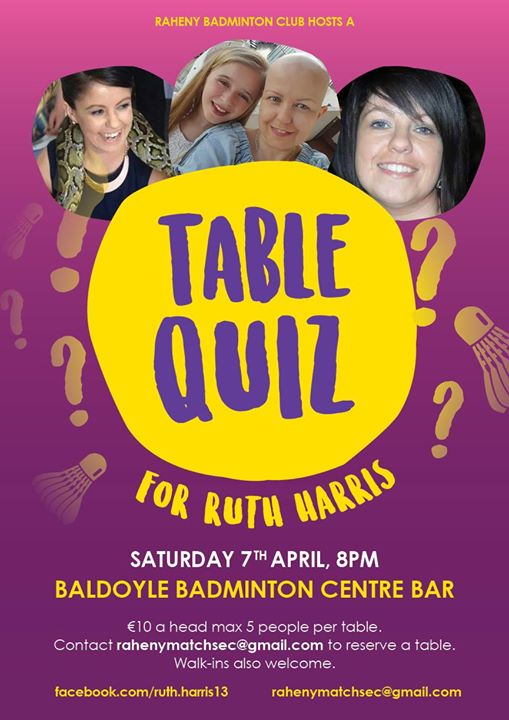 Table Quiz for Ruth Harris