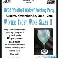 BYOB &quotFootball Widow&quot Winter Front Wine Glass Painting Party