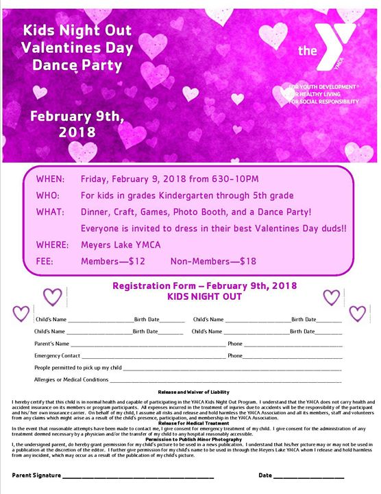 Kids Night Out Valentines Day Dance Party At Meyers Lake Ymca Canton