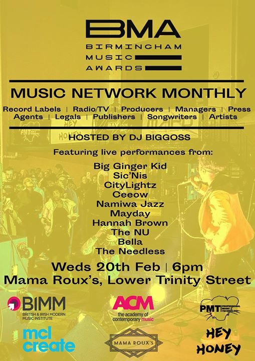 BMAs Music Network Monthly  Mama Rouxs  20 Feb 2019  6pm