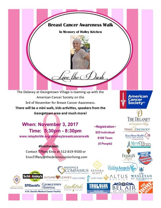 breast cancer awareness walk in memory of holley kitchen livethedash - Holley Kitchen