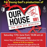 Open Auditions for Young Gens production of Our House The Musical at Civic Theatre Chelmsford in November 2017