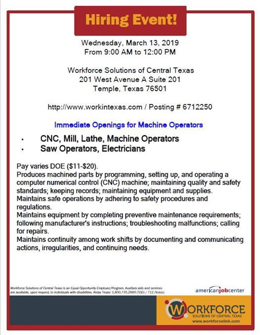 Hiring Event at the Temple Workforce Center | Temple