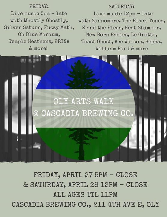 Arts Walk at Cascadia Brewing Co. wlive bands  DJs (FRIDAY)