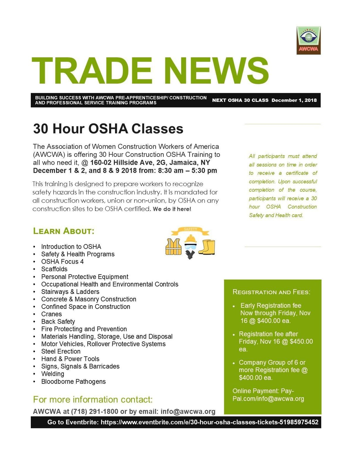 30 Hour Osha Classes At Association Of Women Construction Workers Of