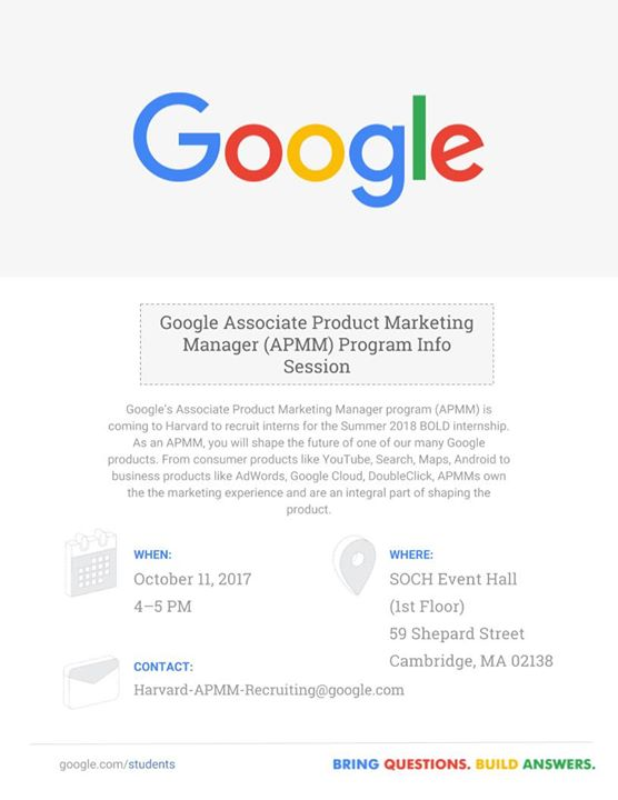Google Marketing APMM Info Session Coffee Chats At Harvard
