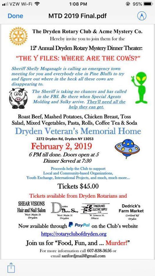 Dryden Rotary Annual Mystery Dinner Theater