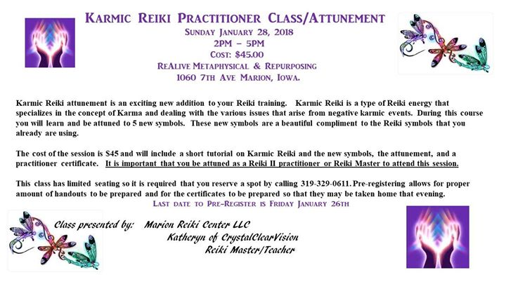 Karmic Reiki Practitioner Classattunement At Realive Metaphysical