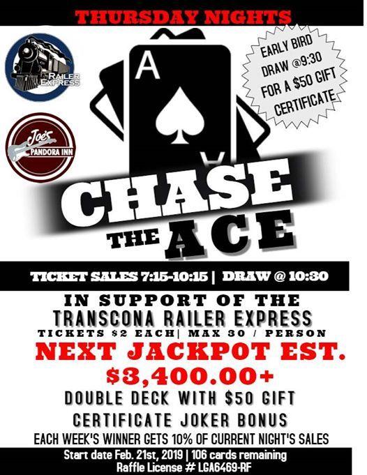 Chase the Ace at Joe's Pandora Inn103 Bond Street, Winnipeg