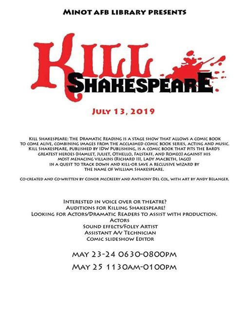 Auditions for K*ll Shakespeare at Mouse River Players, Minot