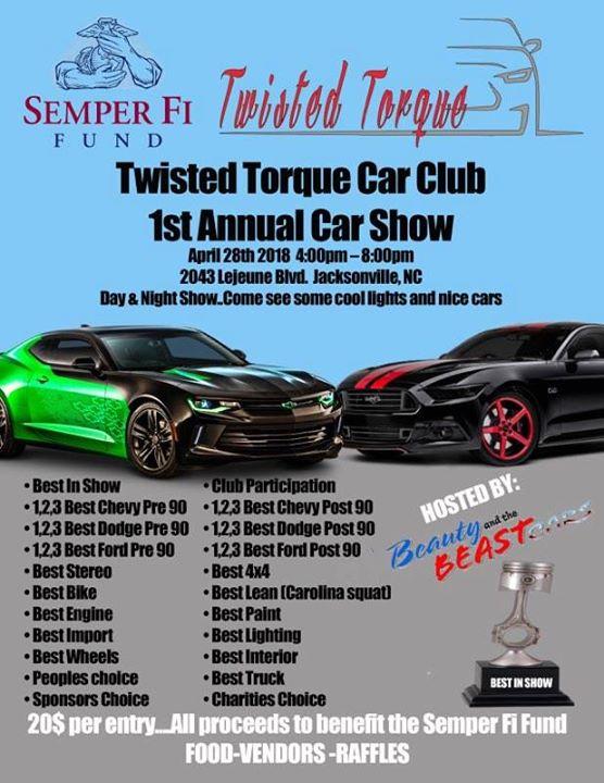 St Annual Twisted Torque Car Show At Lejeune Blvd - Car show jacksonville nc