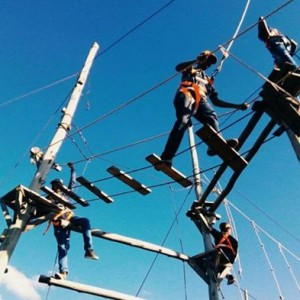High ropes challenge Zip lining and team building