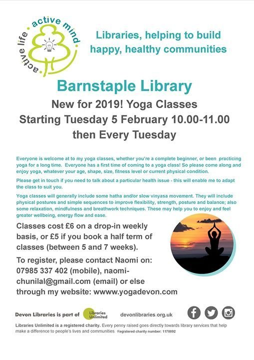 New for 2019 Yoga Classes at Barnstaple Library