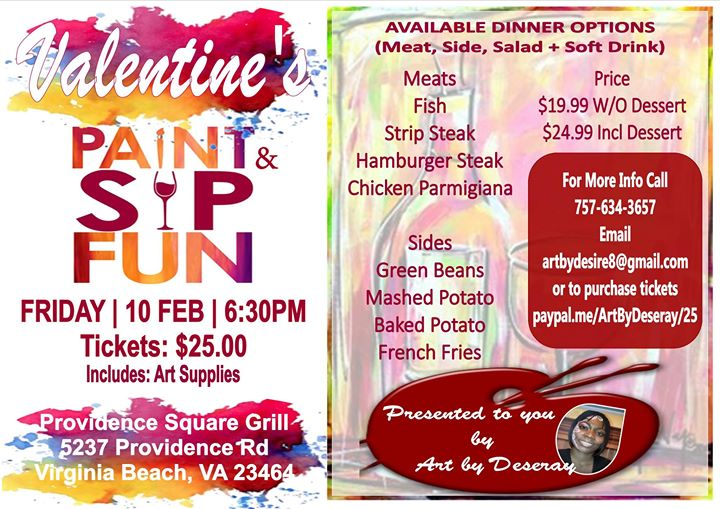 valentines paint sip event at providence square grill
