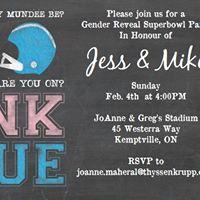 Superbowl Gender Reveal for Baby Mundee